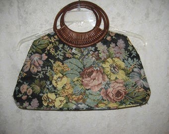 Unusual Faux Tapestry Summer Purse with Great Wooden Handle