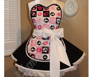Valentine's Kisses Print Woman's Retro Apron Featuring Mini Apron & Heart Shaped Bib...Ready To Ship