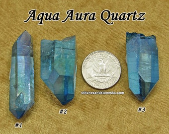 Aqua Aura Quartz crystal point natural raw rough stone