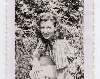 Woman In The Wild Vintage Snapshot Lady Smiles For Antique Photo Black and White Photograph Mid Century Modern Paper Ephemera