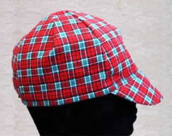 Cycling cap in tartan