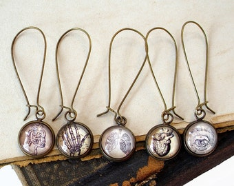 Mix and Match Anatomy Earrings in Bronze - You Pick Two Images = One Pair - Eye - Lungs - Heart - Bones - Intestines
