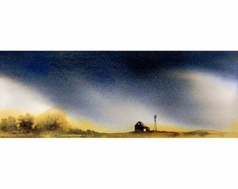 Watercolor ORIGINAL - Rain - farm, weather, storm, clouds, prairie, windmill