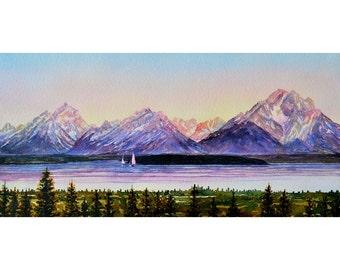 Watercolor ORIGINAL - Opera Divas - Grand Tetons, Jackson Lake, Sailboat, mountains, lake