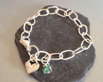 Sterling Silver Link Bracelet with Emerald Charm - Charm Bracelet