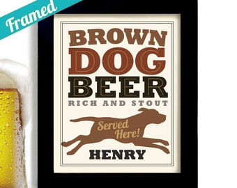Choclate Lab Bar Art Framed Dog Beer Art Personalized Dog Art Brown Labrador Retriever Dog Art Print Dogs Name Brown Dog Craft Beer