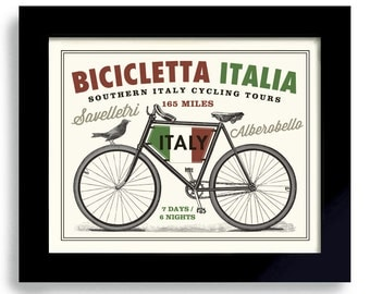 Italian Bicycle Art Italy Art Bike Art Vintage Bicycle Cycling Art Bicyclist Art Bike Enthusiast Italian Flag Bike Rider Bike Race