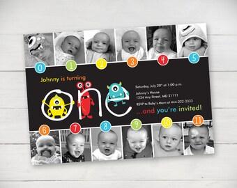 Monsters Timeline 1st Birthday Invitation (Unisex) - Digital File