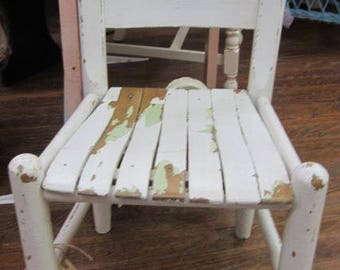 Shabby White Child Children Ladder Back Chair Shabby Chic Farmhouse Prairie Primitive
