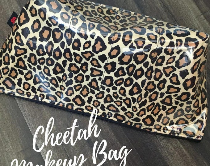Handmade Leopard Print Large Makeup Bag