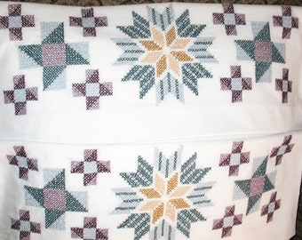Hand Embroidered Cross Stitch set of 2 Pillowcases Quilt Block Design