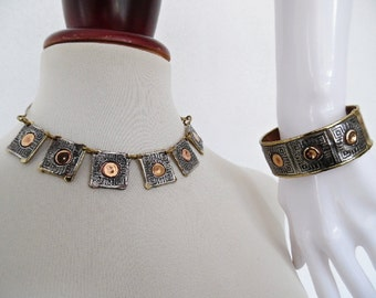 THE ETHNIC CUBIST . African Artisan Unusual Hand Made Necklace Bangle Set 70s
