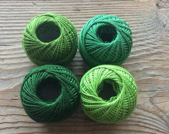 Cotton thread green shades / Set of 4 balls / greenery thread / spring colors thread / soft cotton / for embroidery