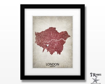 London England UK Map Print - Home Is Where The Heart Is Love Map -  Custom Map Art Print Available in Multiple Size & Color Options