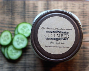 CUCUMBER scented all natural soy candles mason jar candles handpoured SPA aromatherapy candles refreshing cucumber Montana made candles