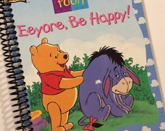 Little GOLDEN Book Winnie the Pooh book upcycled journal notebook - Recycled Earth Friendly spiral bound