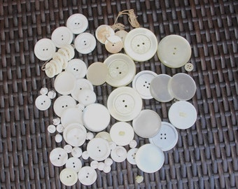 Lot of vintage white buttons