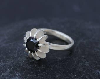Black Spinel Engagement Ring Size 6.25 Black Spinel Solitaire Ring - Black Gemstone Ring - Oval Spinel Ring - Black Spinel Engagement Ring