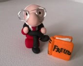 Sigmund Freud Art Doll Ooak Figure Figurine Psychology Polymer Clay Miniature Gift Teacher Counseling Therapy