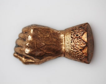 Antique Brass Stamped Victorian Hand Embellishment Finding - Miniature Fisted Hand Stamping - Small Brass Hand