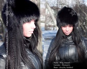 Fur Wig Hat Black FOX Knitted Base Acrylic Beanie Russian Women Arctic Store® FREE SHIPPING