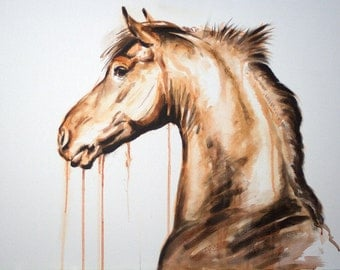 Original acrylic painting horse art equine art painting energy and movement horse painting 'Ocle II' by H Irvine
