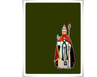 Modern Catholic St. Leo the Great Art Painting Art Poster Illustration Religious Meditation Decor Contemporary Confirmation