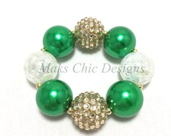 Toddler or Girls Green Chunky Bracelet - Green, Gold and White chunky bracelet - Girls Emerald Green Bracelet - Flower girl bracelet
