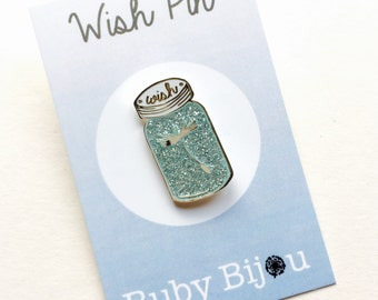 Make a Wish Dandelion  Enamel Pin Jam Jar Glitter