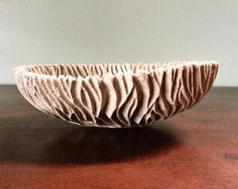 Carved Coral Dish - Textured Pinch Pot Plate Bowl