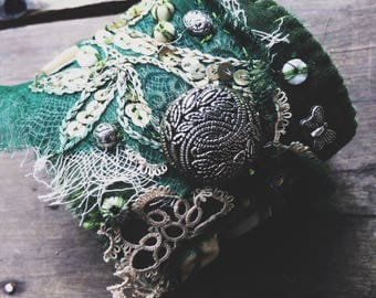 Boho textile cuff, fabric cuff bracelet, salvage textile cuff, textile wrist cuff,  embroidered wrist cuff, green and gold