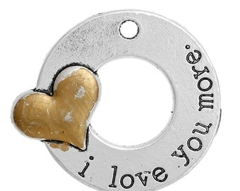 2 I Love You More Pendants - Silver and Gold Tone - 34x30mm - Ships IMMEDIATELY from California - SC1330