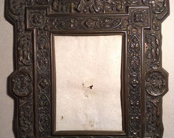 Antique Victorian embossed brass picture frame