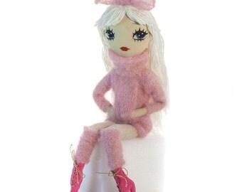 White hair doll, pink, fabric doll, soft art doll, textile doll, cloth doll, embroidered doll, stuffed doll, fashion doll, ragdoll, knitted