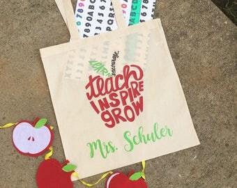 Personalized Monogram Teacher Tote Bag