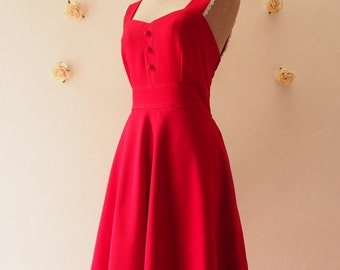 Flash Sale VIENNA - Red Party Dress, Red Dress, Red Bridesmaid Dress, Red Homecoming Dress, Red Modest Dres, Dress with Pockets Option -X...