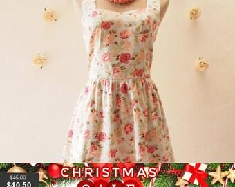 Christmas SALE FLORAL DRESS vintage inspired dress floral dress romantic blue pink rose summer dress tea dress strap dress floral Sundres...