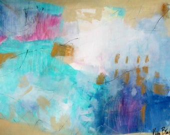 "Intuitive Abstract Painting on Paper, Modern, Blue, Colorful ""She's So Sweet"" 18Hx24W"""