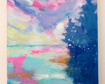 "Abstract Landscape, Trees, Clouds, Sky Original Painting Small Colorful ""Sunrise"" 6x12"""