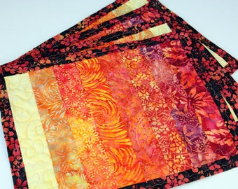 Set of 4 Quilted Place mats / Table mats, Sunset, Handmade by PingWynny