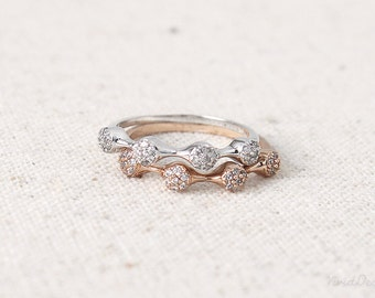 Bubbles Ring, Paved Stacking Ring in Rose Gold and Rhodium