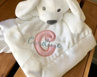 Personalized Baby Security Blanket Lovey, White and Pink Baby Boy Girl Monogrammed Newborn shower Gift