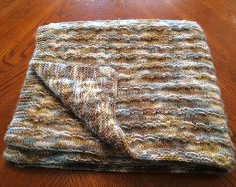 NEW ITEM!!! Hand knit baby blanket in Muted Earth Tones