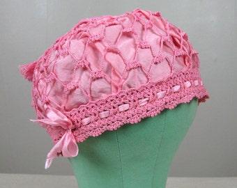 Vintage 1920s Sleeping Cap 20s Pink Cotton Crochet and Silk Hat