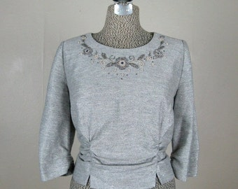 ON SALE // Vintage 1960s Blouse 60s Muted Silver Lurex Knit Top with Beaded Neckline Size L