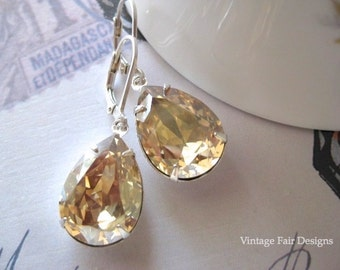 Champagne Crystal Earrings - Golden shadow Crystal drops - Sterling Silver leverback earrings -Created with crystals from Swarovski®