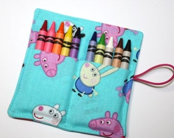 Peppa the Pig Birthday Party Crayon Rolls Party Favors, made from Peppa Pig fabric, Peppa Birthday Party Favors Crayon Holders, FAST SHIP!