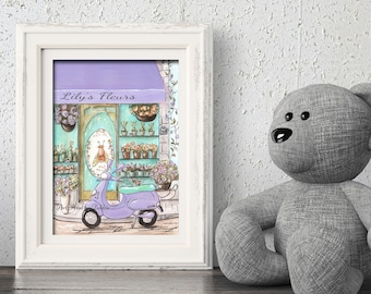 Lavender And Teal Nursery Prints For Girls Paris Themed Bedroom, Personalized French Decor Flower Shop, Custom Name Girl Baby Shower Gift