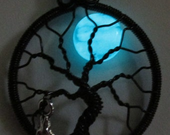 Tree of Life with Glow in the Dark Moon - Aquamarine Glowing Blue Moon Tree of Life with The Wolf, Glow in the Dark Moon