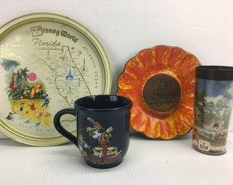 Walt Disney World - Mickey Mouse Souvenirs 4 Item Collection - Vintage Tray Dish Mug Cup